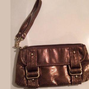 EXPRESS Brown Bronze Clutch Wallet Purse Wristlet